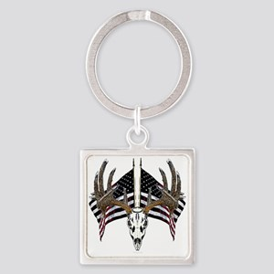 Whitetail, USA flag Square Keychain